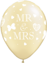 Wedding Balloons Mr & Mrs (Ivory) - 11 Inch Balloons 25pcs